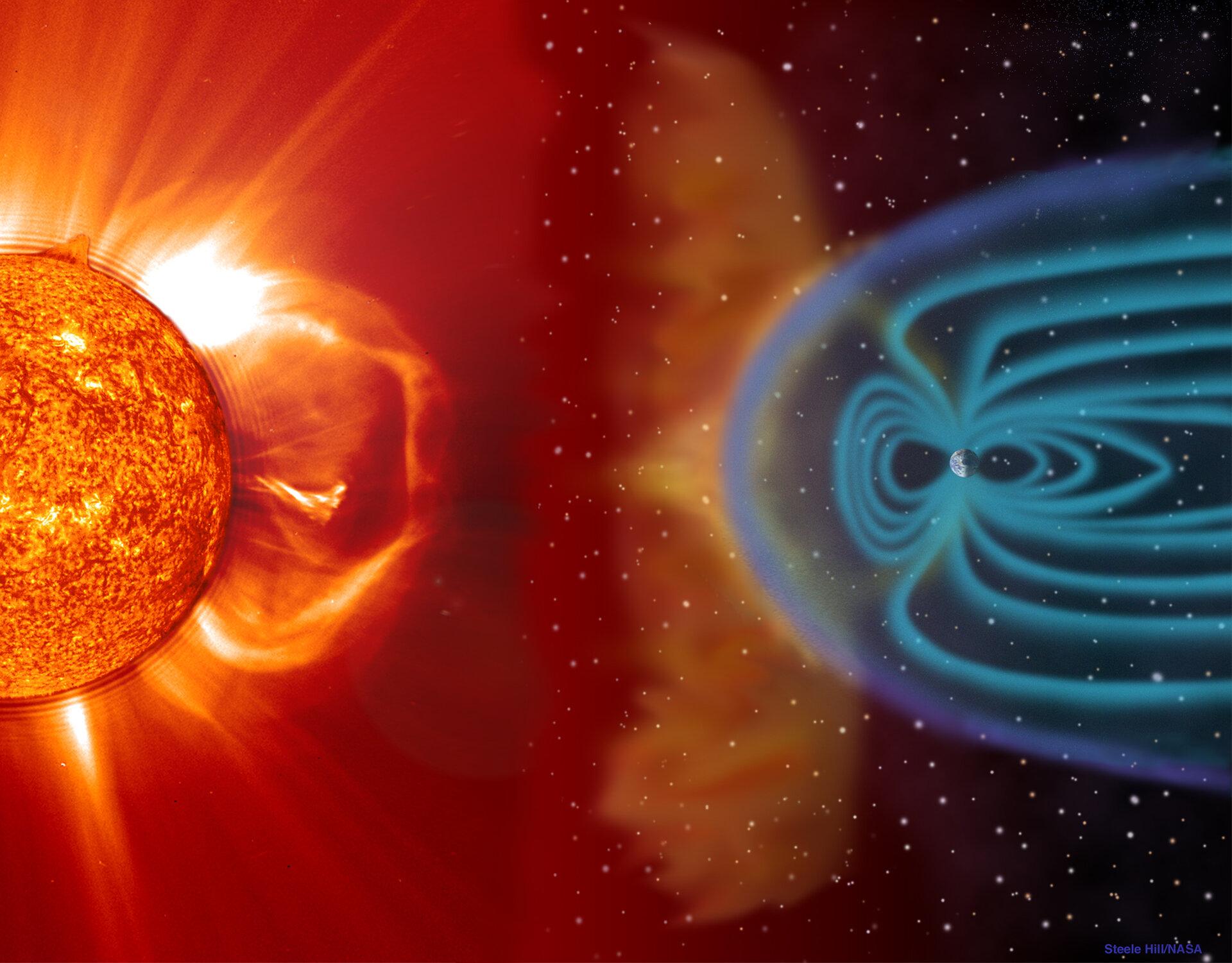 Koronalno izbacivanje mase i Zemljino magnetno polje. Izvor: esa.int