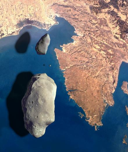 Umjetnička ilustracija koja prikazuje asteroidi nad Istrom. Izvor: Astronomsko društvo Višnjan