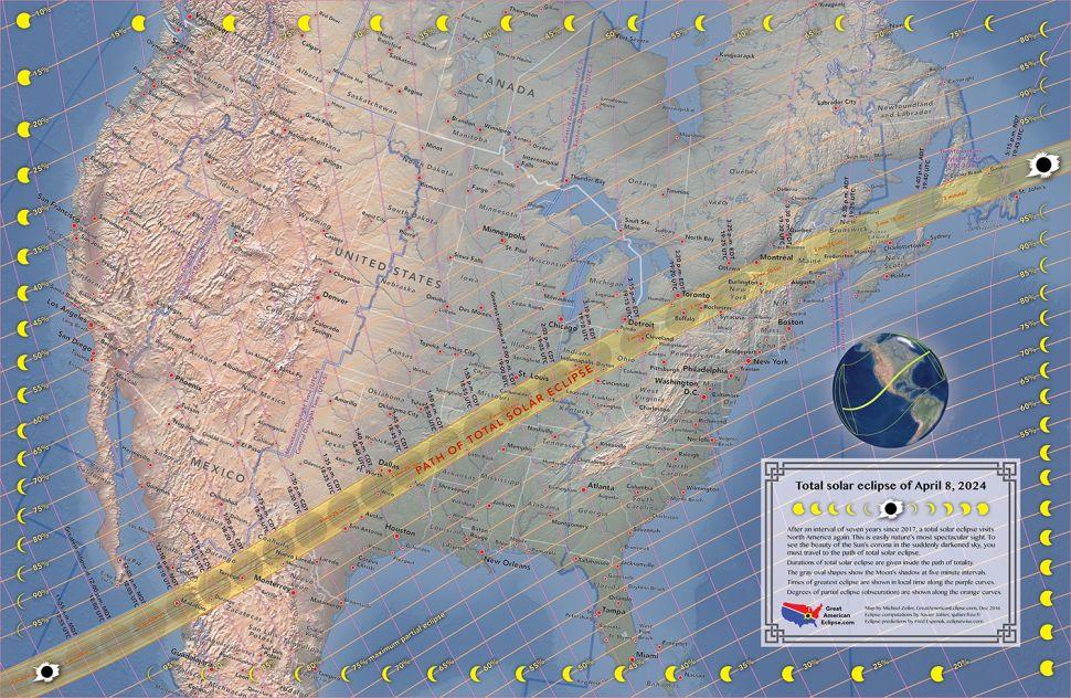 Putanja potpune Sunčeve pomrčine. Izvor: Space.com