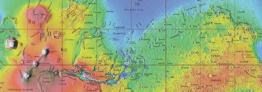 Odobrena imena na globalnoj topografskoj karti Marsa. Izvor: USGS.