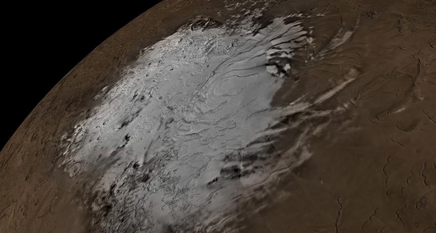 Ispod Marsov južnog pola potencijalno se krije na desetak jezera. Izvor:
