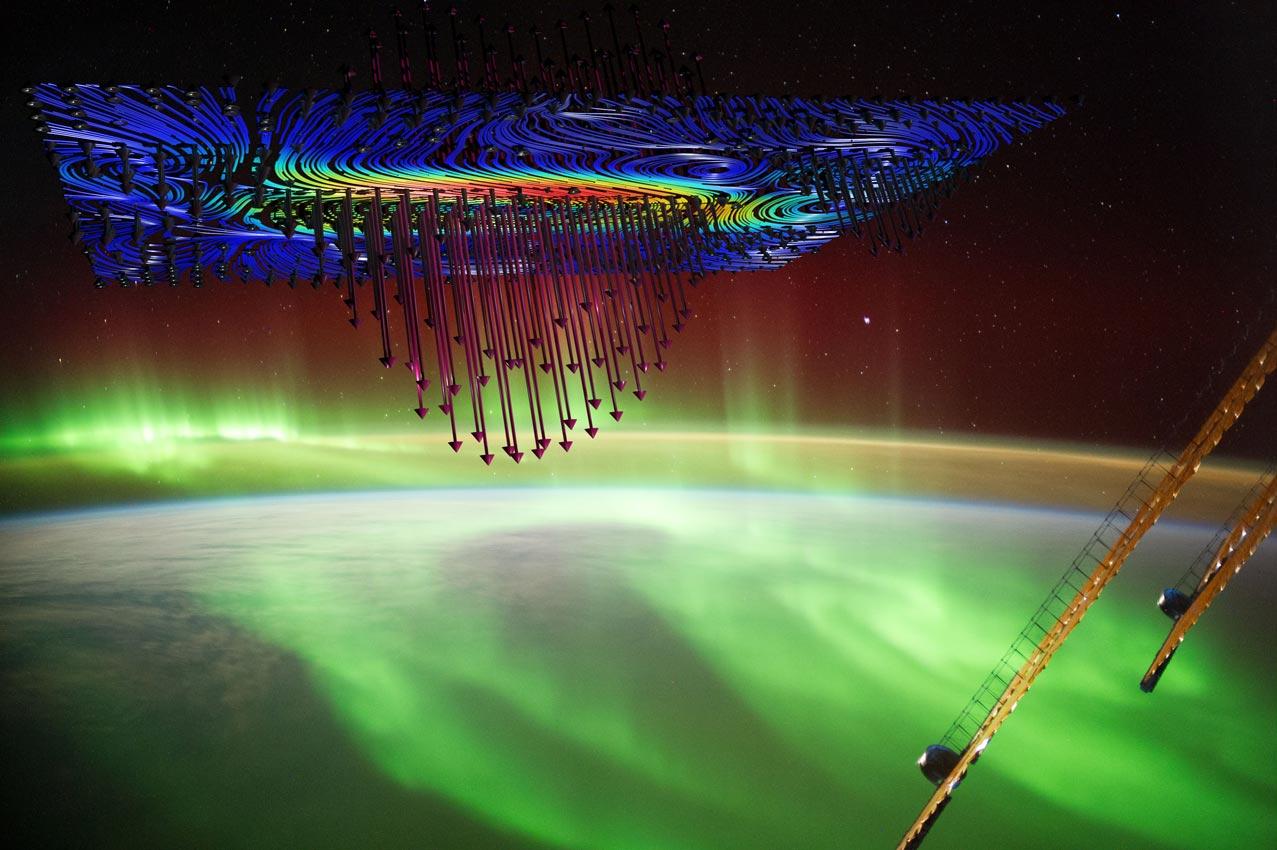 Ilustracija prikazuje kako se elektroni spuštaju iz svemira na Alfvenovim valovima stvarajući polarnu svjetlost poznatu pod nazivom aurora borealis. Izvor slike: Alex Gerst, NASA / Steve Vincena, UCLA