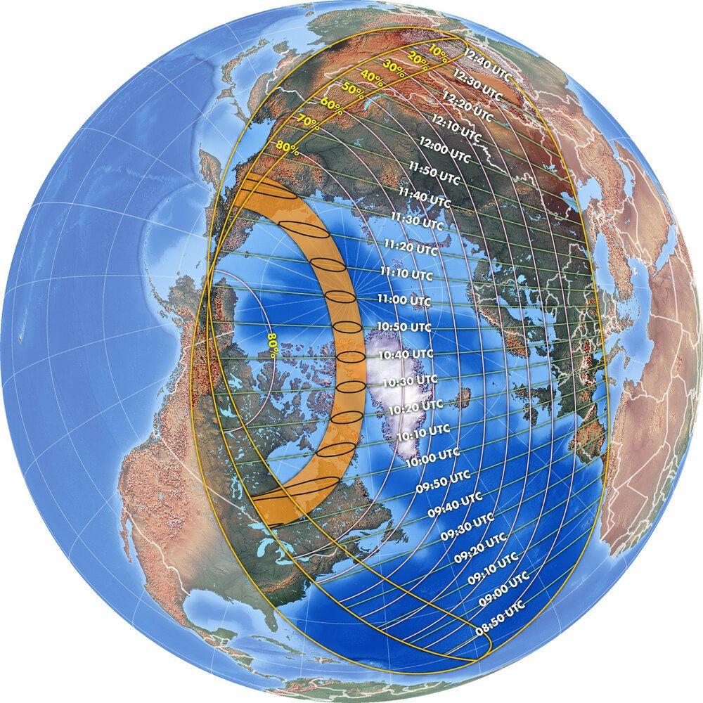 """Geografska vidljivost pomrčine Sunca """"Vatreni prsten"""". Izvor: thetechtack.com"""