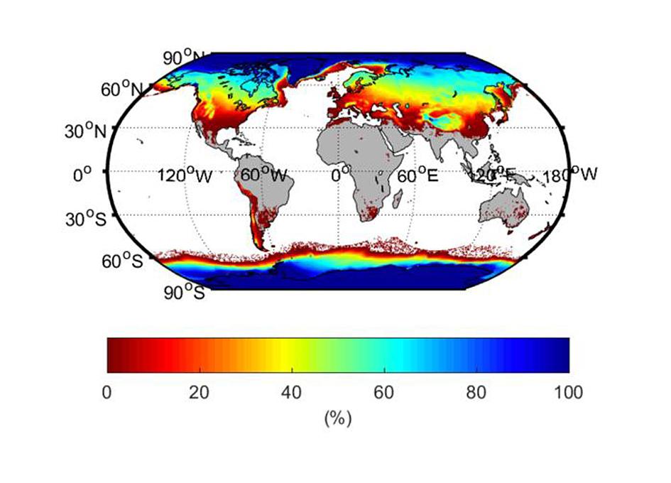 Postotak svakog područja koje u nekom trenutku tijekom godine (1981.-2010.) sadrži led, snijeg ili smrznuto tlo. Izvor: Peng et al. (2021) Earth's Future https://doi.org/10.1029/2020EF001969