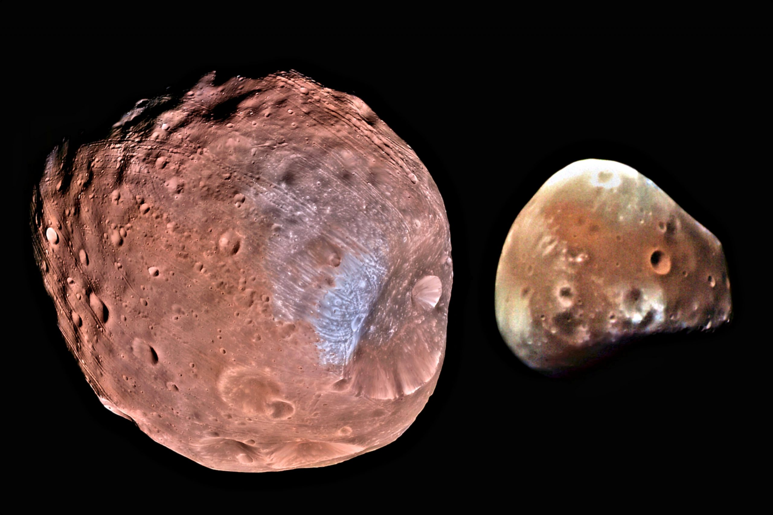 Fobos i Deimos. Izvor: NASA/JPL-Caltech/University of Arizona, Giuseppe Donatiello HiRISE instrument on the Mars Reconnaissance Orbiter