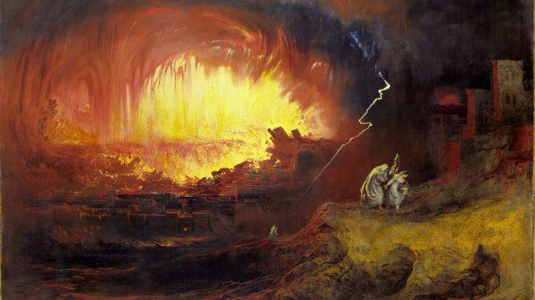 John Martin, Uništenje Sodome i Gomore, 1852. Izvor: Wikimedia Commons.