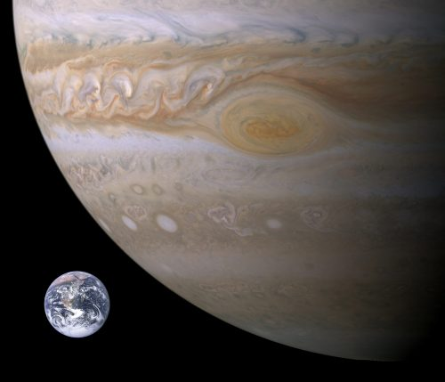 Usporedba Zemlje i Velike crvene pjege na Jupiteru. Izvor: Wikimedia commons.