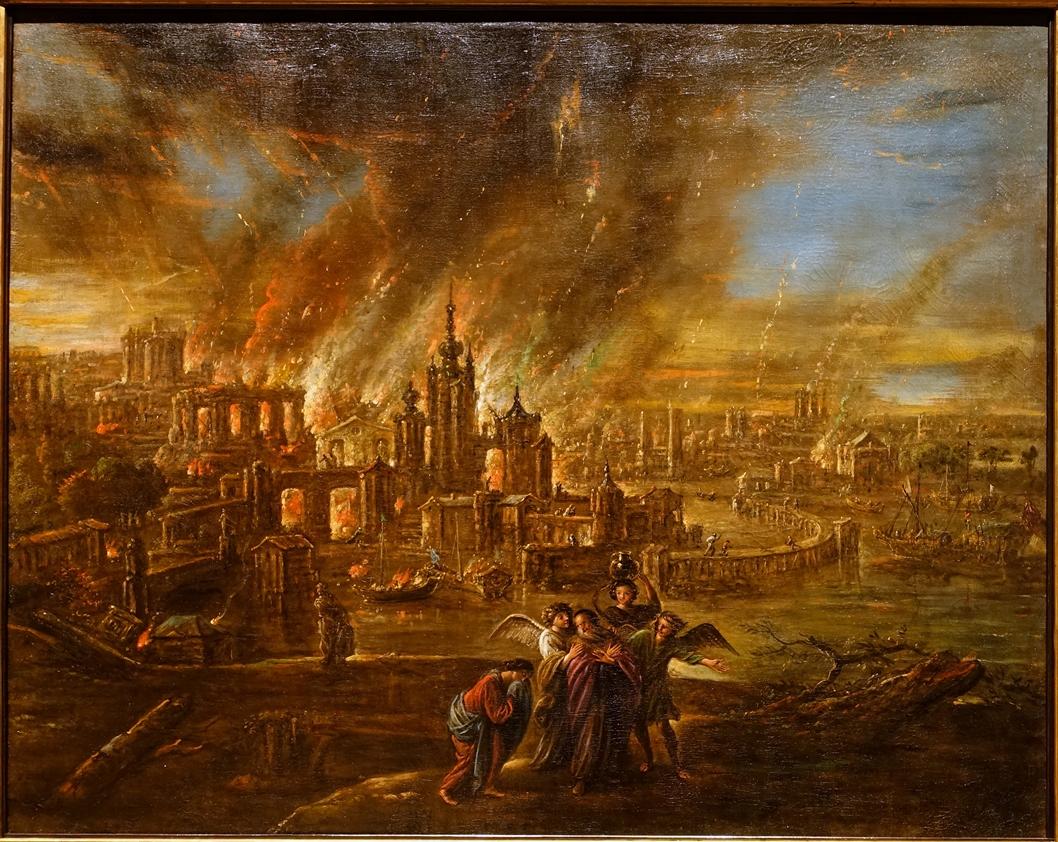Sodoma i Gomora u plamenu, Jacob de Wet II, 1680. Izvor: Wikimedia Commons.