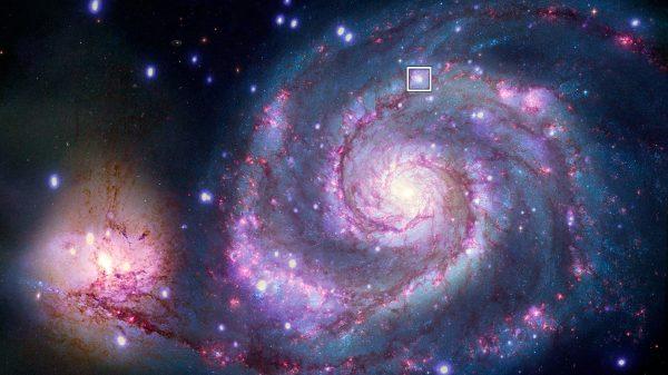 Lokacija potencijalnog planeta u M51. Izvor: X-ray: NASA/CXC/SAO/R. DiStefano, et al.; Optical: NASA/ESA/STScI/Grendler.